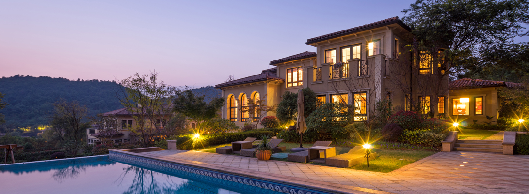 Luxury Home with Pool and Lighted Landscape